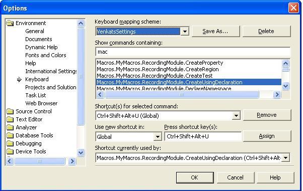 agiledeveloper: My Visual Studio  NET 2003 Macros